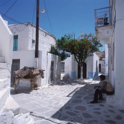 Dorfgasse mit Mann und Esel, Paros, Griechenland