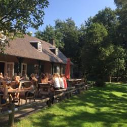 Das Außengelände mit der Terrasse im niederländischen Gruppenhaus de Repelaerhoeve am Waldrand.