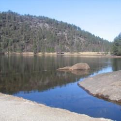 Ein kleiner See gegenüber des norwegischen Gruppenhauses Kvinatun.
