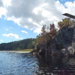 Die Badestelle am Gruppenhaus Undeland in Norwegen.