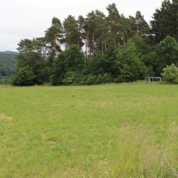 Der großen Rasenplatz des Freizeitheims Largesberg in Deutschland.