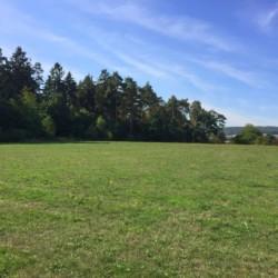 Die andere Seite des großen Rasenplatzs am Gruppenhaus Largesberg in Deutschland.