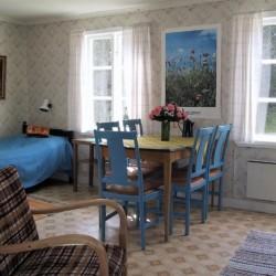 Schlafzimmer des Freizeithauses Vallsnäs Unnaryd Camp in Schweden.