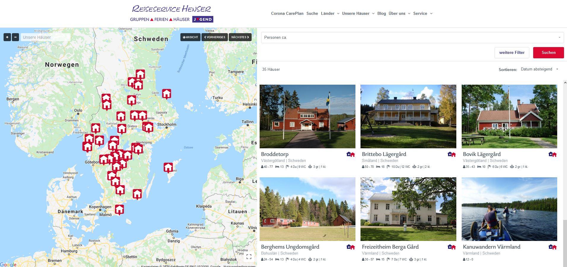 Suchmaschine für Gruppenhäuser in Schweden